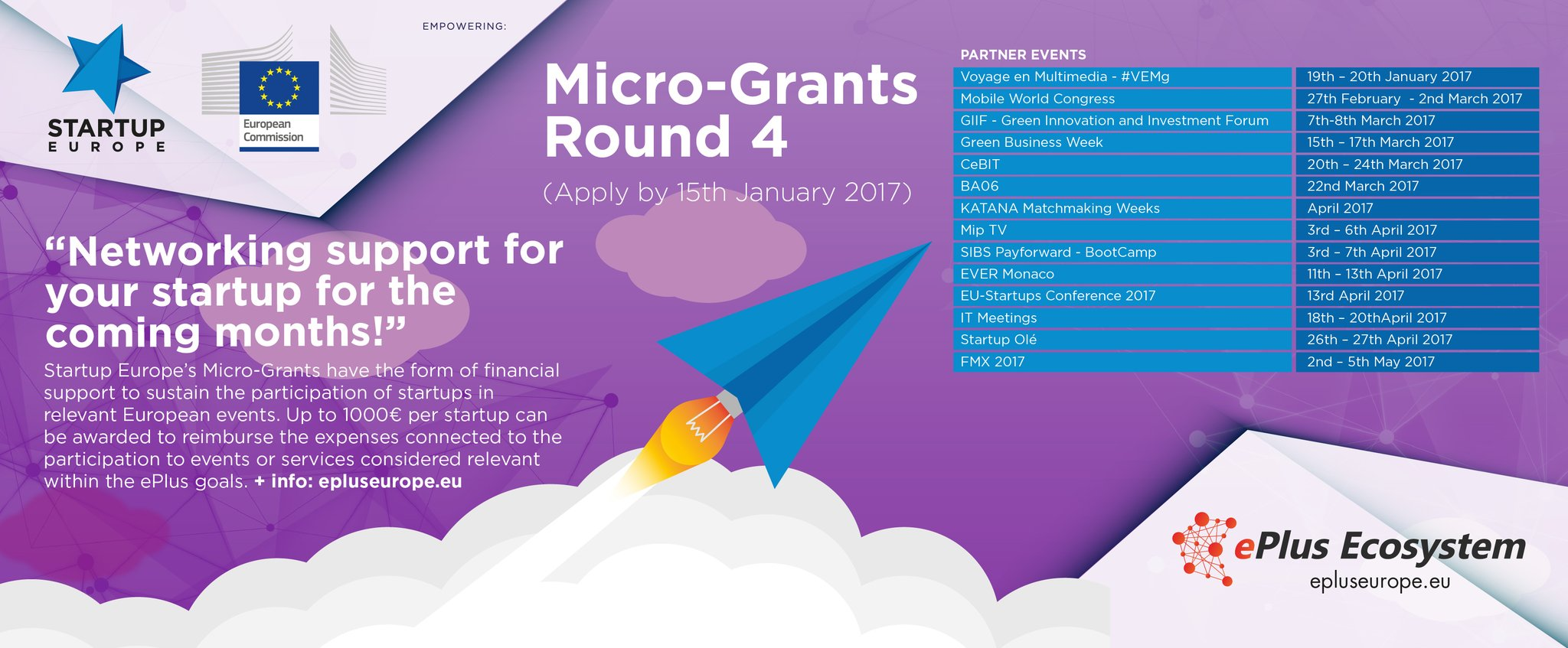 Startup Europe, micro-grants 2017