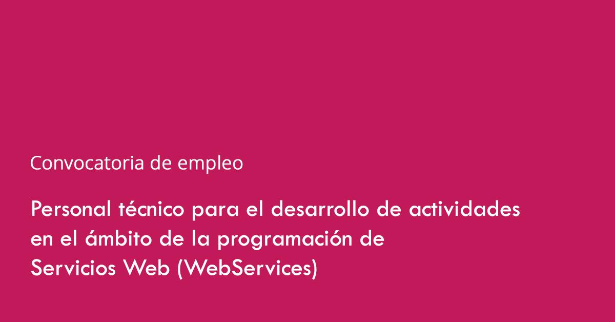 Convocatoria de empleo: Personal para desarrollo de actividades en el ámbito de la programación de Servicios Web